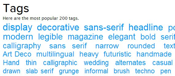 lettertype per categorie